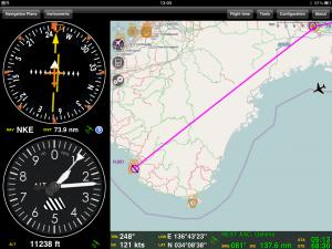 Approaching Kii-Hanto Peninsula on iPad GPS